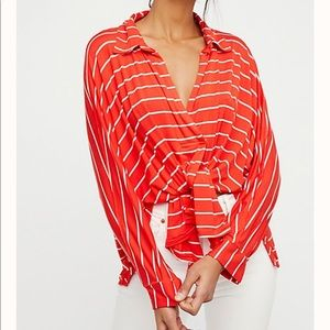 Free People Stripe Red Sweater Blouse Top